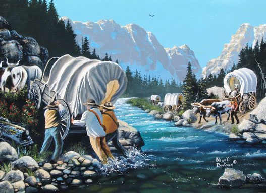 Newell Boatman, artist, concept of Mormon Emigrant Trail