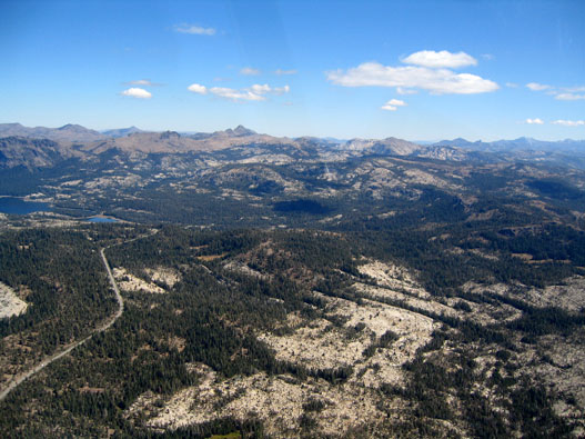 Aerial Tragedy Spring area …near end of road on the left side..center of picture and Coray Peak…. on the skyline